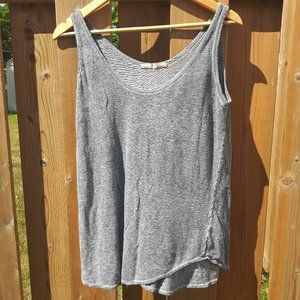 Zara Basics Loose Grey Tank Top Distressed M